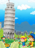The iconic and historical architecture of Europe with kids - the Leaning Tower of Pisa - illustration for the children — Stock Photo