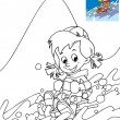 The kid on the skis having fun in the mountains - leisure - free time Coloring page — Stock Photo #24291939