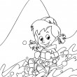 The kid on the skis having fun in the mountains - leisure - free time Coloring page — Stock Photo #24292025