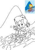 çocuk boyama sayfası dağlar - eğlence - boş zamanlarında eğleniyor kayaklar üzerinde — Stok fotoğraf