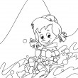 The kid on the skis having fun in the mountains - leisure - free time Coloring page — Stock Photo