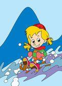 Il ragazzo sugli sci per divertirsi nel tempo libero montagne - tempo libero — Foto Stock
