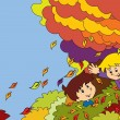 Cartoon kids playing autumn - Stock Photo