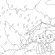 The rainy day in autumn Coloring page — Stock Photo #24580115