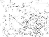 The rainy day in autumn Coloring page — Foto Stock