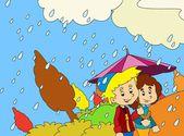 Regentag im herbst — Stockfoto