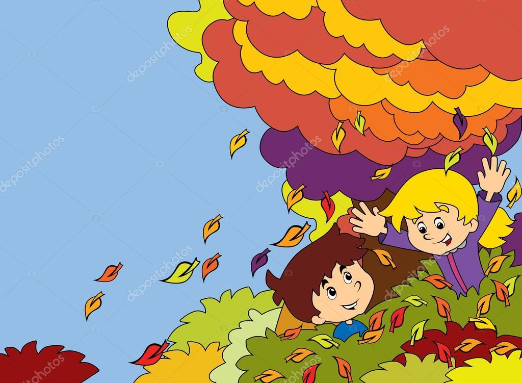 Niños De Dibujos Animados Jugando Otoño