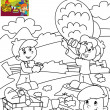Stock Photo: Children in park Coloring page