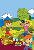 Children in park Coloring page — Stock Photo