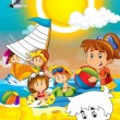 Kids at the beach - coloring page - illustration for the children - Stock Photo
