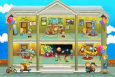 Kinds on vacations - cross section - play fun and education - illustration for the children — Stock Photo