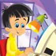 The tech illustration for children with IT specialist - presented as a young boy- computer science - Stock Photo