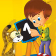 Boy teaching the cat - funny illustration for children - educational - Stock Photo