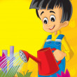 Стоковое фото: Small boy taking care od his plants - flowers - sun in background - illustration for children