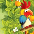 The funny pair parrot sitting and chatting like friends - happy illustration for children - Stock Photo