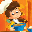 The kitchen chief girl - doing food - having fun with it - Stock Photo