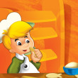 The happy, little kid playing chief and making some food - Stock Photo
