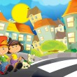 The happy illustration for children crossing road - educational theme but also simply good general subject — Stock Photo #24828905