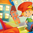 The happy illustration for children  crossing road - educational theme but also simply good general subject - Stock Photo