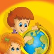 The pair of kids having fun - learning from the globe - Stock Photo