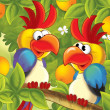 The funny pair of parrots sitting and chatting like friends - happy illustration for children - Stock Photo