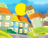 Cartoon city look - illustration for the children — Stock Photo