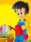 The small boy taking care od his plants - flowers - sun in the background - illustration for children — Foto de Stock