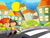 The happy illustration for children crossing road - educational theme but also simply good general subject — Stock Photo