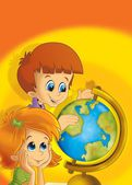 The pair of kids having fun - learning from the globe — Stock Photo