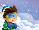 The kid on the skis having fun in the mountains - leisure - free time — Stock Photo