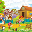 Stock Photo: Children near home illustration for kids