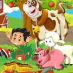 niños cerca de casa ilustración para niños — Foto de Stock