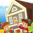 Children near home illustration for kids - Stock Photo