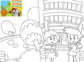 The coloring book with preview - Time to school — 图库照片