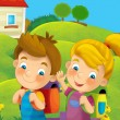 Time to school -happy and bright illustration for the children - Stock fotografie