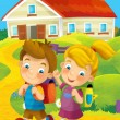 Time to school -happy and bright illustration for children — Stock Photo #24979857