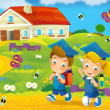 Time to school -happy and bright illustration for children — Stock Photo #24993181