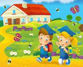 Time to school -happy and bright illustration for the children — Stock Photo