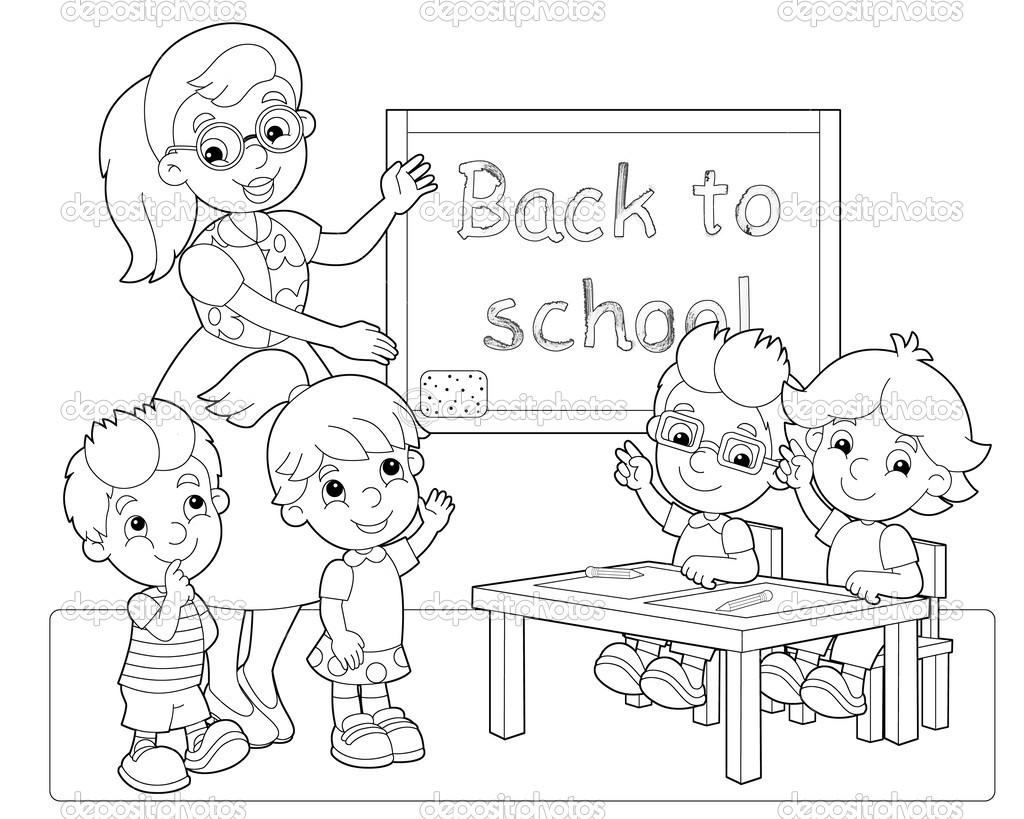 Classroom Line Drawing