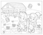 学校 - 子供のための図に行く — ストック写真