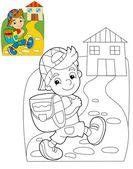 Indo para a escola - ilustração para as crianças — Foto Stock