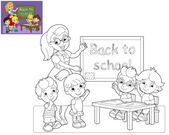 The coloring page - the classroom - illustration for the children — Stock Photo