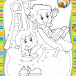 Stock Photo: Page with exercises for kids - coloring book - illustration for children