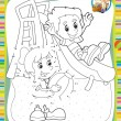 The page with exercises for kids - coloring book - illustration for the children — Stock Photo #25922923