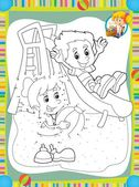 The page with exercises for kids - coloring book - illustration for the children — Stock Photo