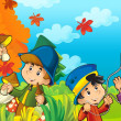 Cartoon kids playing autumn — 图库照片