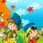 crianças desenhos animados jogando outono — Foto Stock