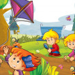 Cartoon kids playing autumn — Stock Photo
