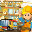 On the construction site - illustration for the children — Stock Photo