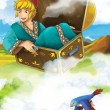 The flying trunk - the prince - castles - knights and fairies - Beautiful Manga style- illustration for the children — Stock Photo